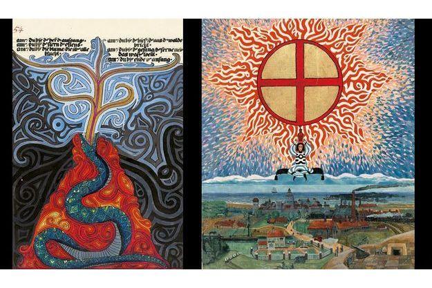 Deux pages du précieux manuscrit exposé au musée Guimet