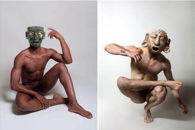 Des masques précolombiens sur des corps nus.