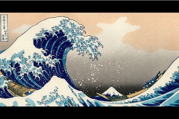 """""""Dans le creux d'une vague au large de Kanagawa, estampe, """"Trente-six vues du mont Fuji"""", 1830-1834."""