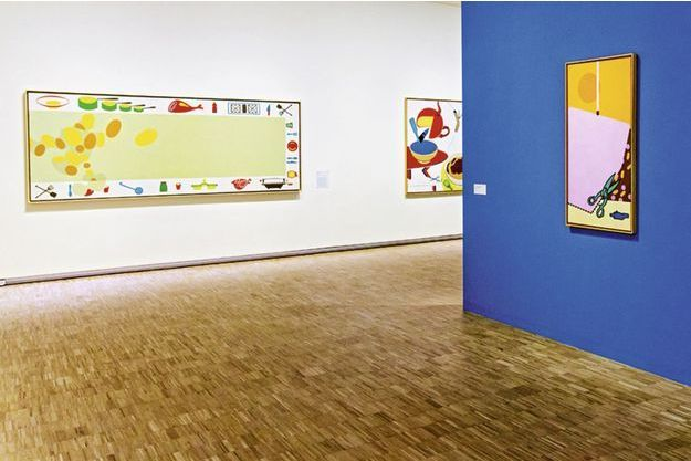 Œuvres d'Hervé Télémaque,  de g. à dr.: «Caca-Soleil!»,  «Coupe no1», «Elevation rose (Gai savoir…)».