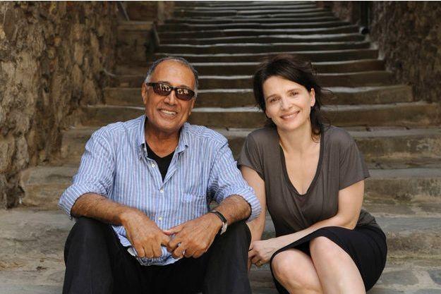 """Abbas Kiarostami et Juliette Binoche sur le tournage de """"Copie Conforme"""""""