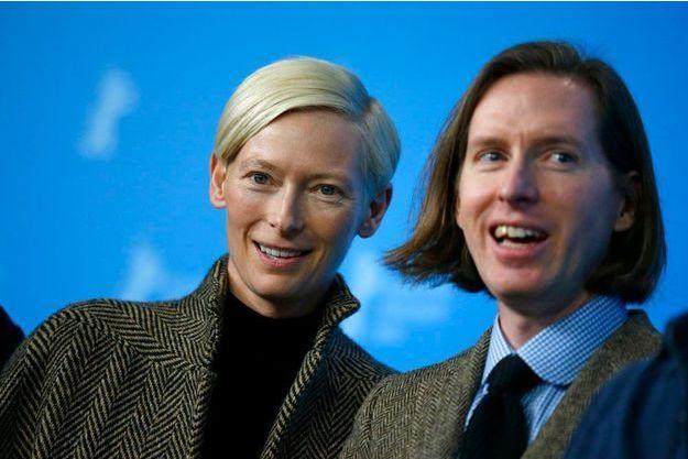 "Wes Anderson et l'actrice Tilda Swinton, blonde héroïne de ""The Grand Budapest Hotel"""