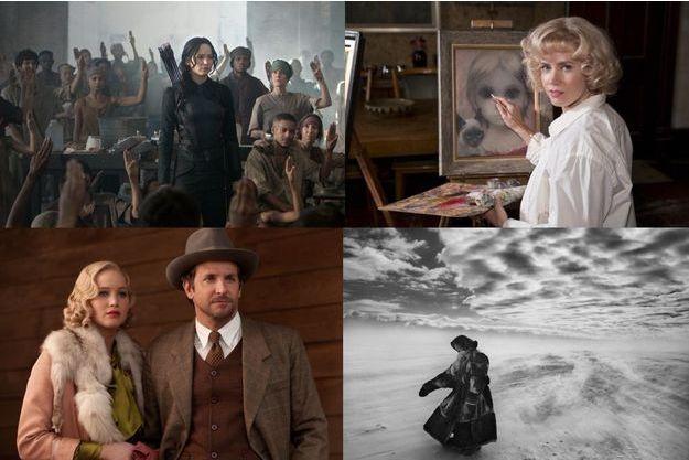 """De haut en bas et de gauche à droite, """"Hunger Games"""", """"Big Eyes"""", """"Serena"""" et """"Le Sel de la terre"""""""
