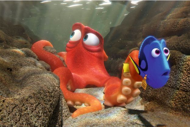 Hank le poulpe et Dory le poisson pris au piège de l'aquarium