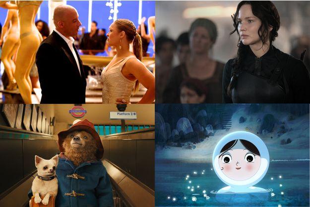 """De haut en bas, de gauche à droite: """"Fast & Furious 7"""", """"Paddington"""", """"Hunger Games"""", """"Le Chant de la mer"""""""