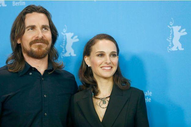 "Christian Bale et Natalie Portman lors de la conférence de presse de ""Knight of Cups"" au Festival de Berlin."
