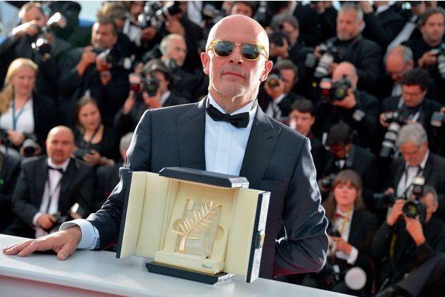 Jacques Audiard à Cannes avec sa Palme d'or.