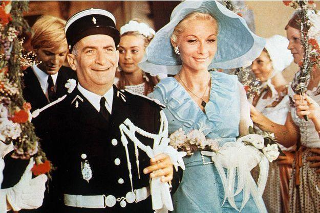 """Louis de Funès et Claude Gensac dans """"Le gendarme se marie"""" en 1968."""