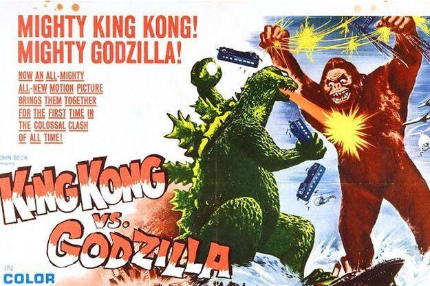 """L'affiche du mythique """"King Kong contre Godzilla"""""""
