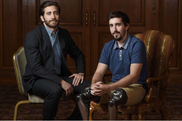 Jake Gyllenhaal et Jeff Bauman au Festival de Toronto en 2017.