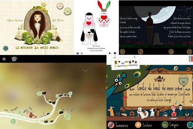 """Captures d'écrans, de g. à dr., en haut. : """"La princesse aux petits prouts"""", """"Dans mon rêve"""", """"Les contes du haut de mon crâne"""". En bas : """"Botanicula"""", """"Les contes du haut de mon crâne""""."""