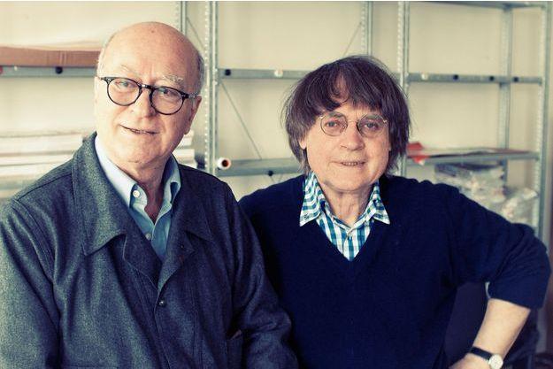 Wolinski et Cabu, dans les locaux de «Charlie Hebdo», en juin 2012.
