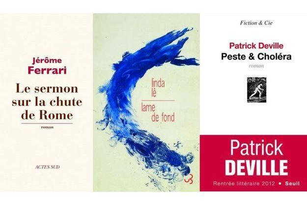 Trois des livres finalistes du prix Goncourt 2012.