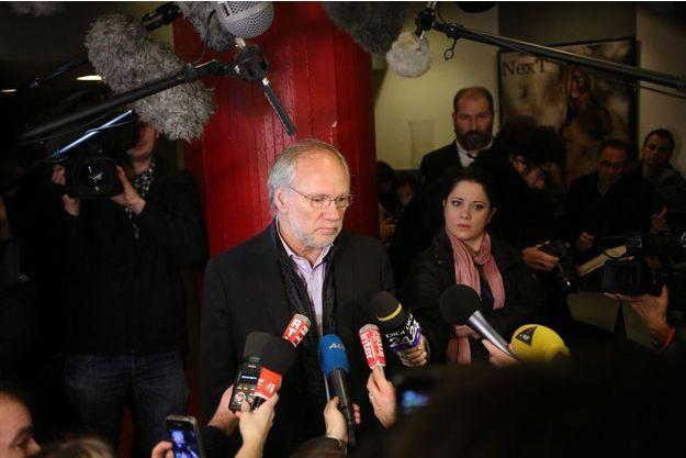 """Conférence de presse de Laurent Joffrin, directeur de la rédaction de """"Libération"""" dans les locaux du journal, à Paris."""