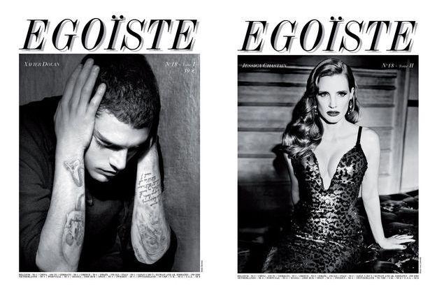 Deux couvertures, quatre stars. Jessica Chastain dans l'œil d'Ellen von Unwerth, et Xavier Dolan photographié par Paolo Roversi.