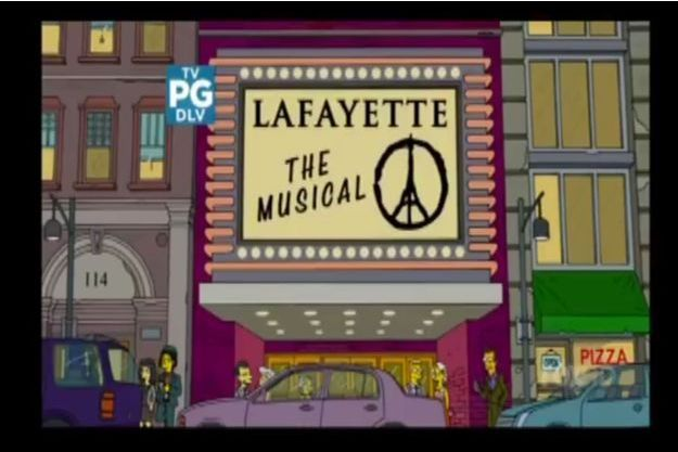 """Le signe """"Pray for Paris"""" sur le fronton d'une salle de spectacle dans """"Les Simpson""""."""