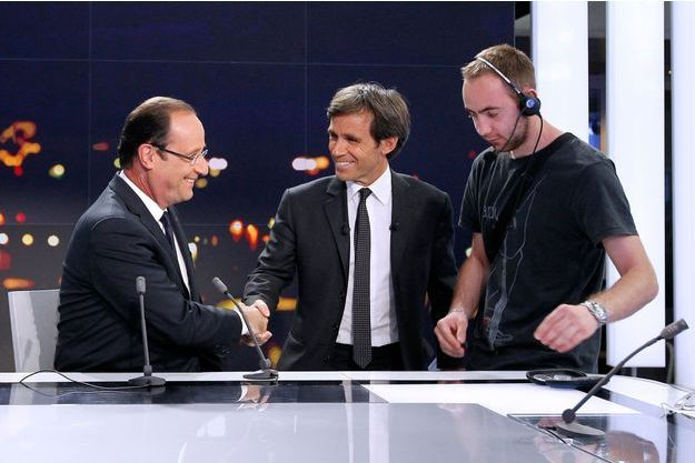 François Hollande et David Pujadas sur France 2.