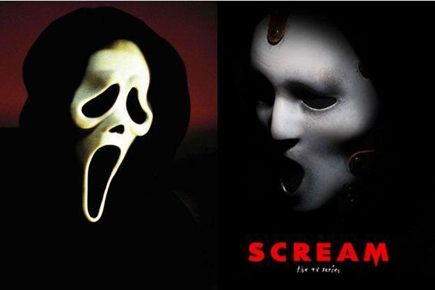 """Les deux masques des tueurs de """"Scream"""". A gauche dans les films, à droite dans la future série."""