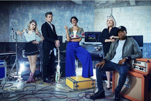 Shy'm et les 4 jurés de la Nouvelle Star 2017.