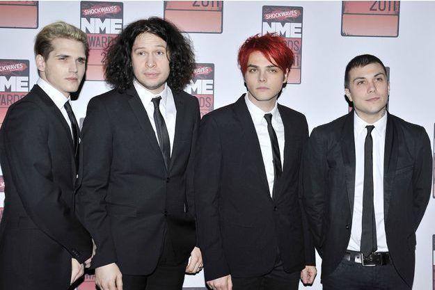 Frank Iero (à droite) et le groupe My Chemical Romance en 2011 aux NME Awards, à Londres.