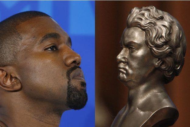 Kanye West en 2016, face à un buste de Ludwig van Beethoven.