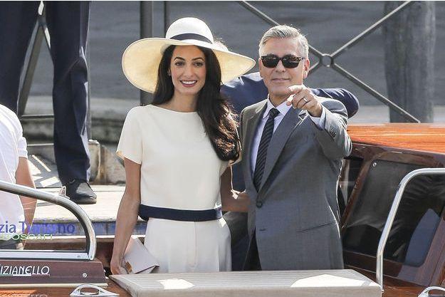 Amal et George Clooney à Venise, le 29 septembre 2014