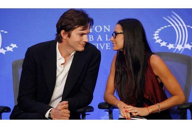 Ashton Kutcher et Demi Moore, au Clinton Global Initiative à New York