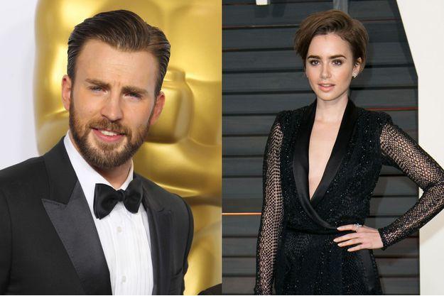 Chris Evans et Lily Collins à la cérémonie des Oscars le 22 février dernier