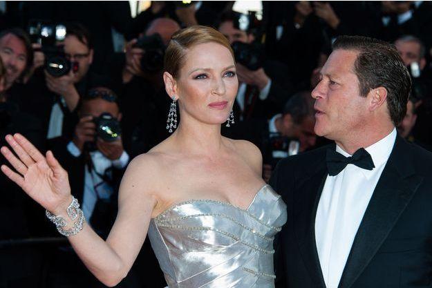 Uma Thurman et Arpad Busson, au Festival de Cannes l'an dernier.
