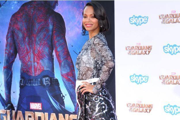 Zoe Saldana et son ventre arrondi à la première des «Gardiens de la Galaxie» lundi soir à Hollywood.