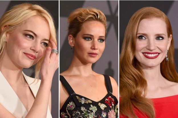 Emma Stone, Jennifer Lawrence, Jessica Chastain aux Governors Awards à Los Angeles