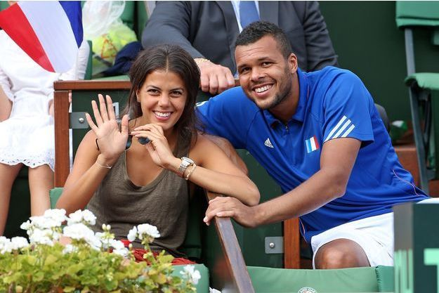 Jo-Wilfried Tsonga et sa compagne Noura à Paris en 2014.