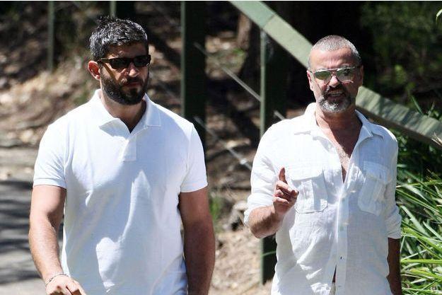George Michael et son compagnon Fadi Fawaz en 2012