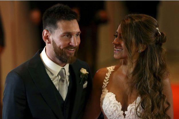Leo Messi et sa femme, à leur mariage le 30 juin 2017