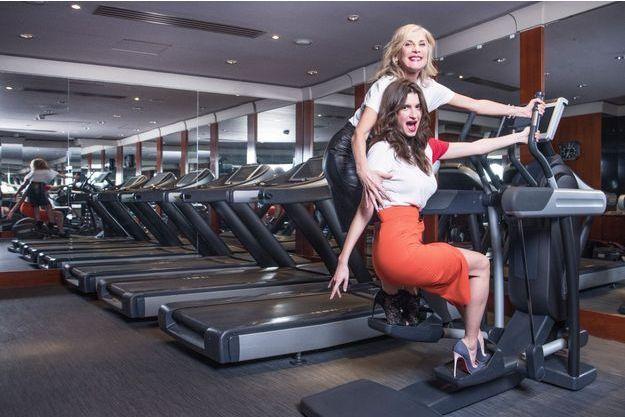 Michèle Laroque et sa fille, Oriane Deschamps, dans la salle de fitness du Park Hyatt Paris-Vendôme, le 7 janvier.