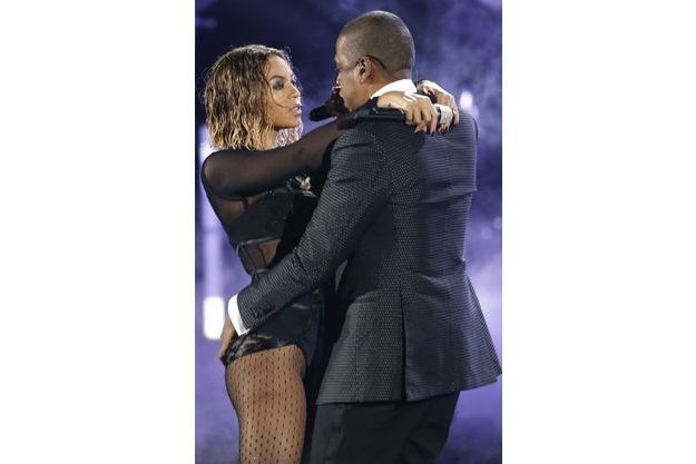 Beyoncé et Jay-Z aux Grammy Awards, en janvier dernier.