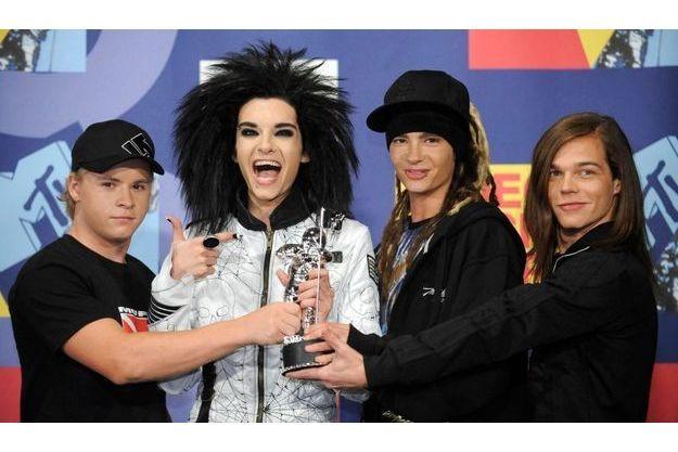 """Les membres du groupe de rock Tokio Hotel aux """"MTV Vidéo Music Awards 2008"""" à Los angeles. De gauche à droite, Gustav Schaefer, Bill Kaulitz, Tom Kaulitz et Georg Listing."""