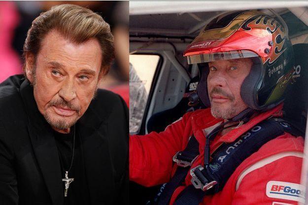 Johnny Hallyday à Paris le 19 novembre 2014 et à Arras au départ du Dakar le 28 décembre 2001