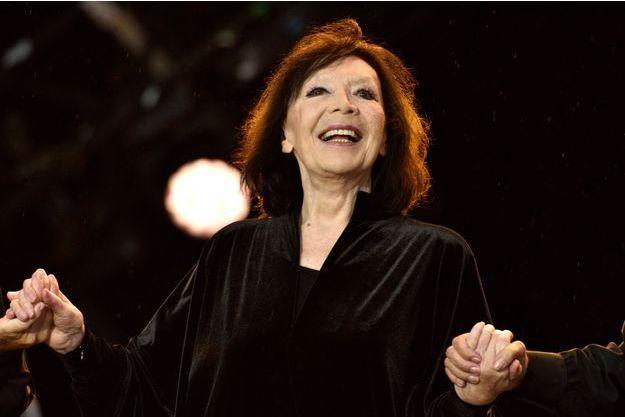 """La chanteuse Juliette Gréco à la 80ème édition de la """"Fete de l'Humanité"""", le 13 septembre 2015 à La Courneuve."""