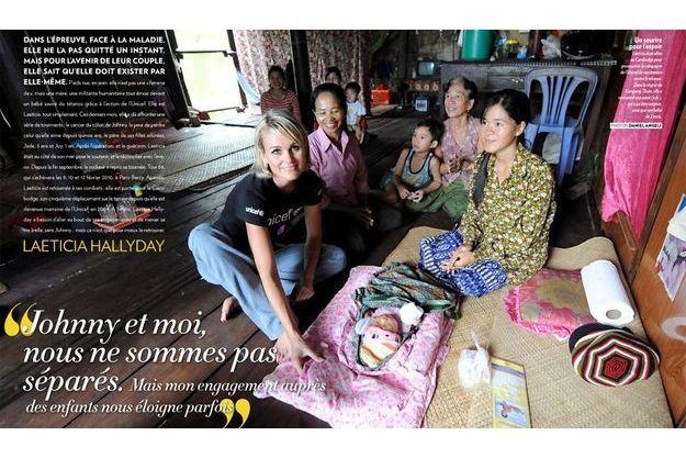 Laeticia était allée  au Cambodge pour promouvoir la campagne de l'Unicef de vaccination contre le tétanos. Dans la région de Kompong Thom, elle a rencontré une mère (à dr.), qui a pu être soignée, ainsi que son bébé de 2 mois.