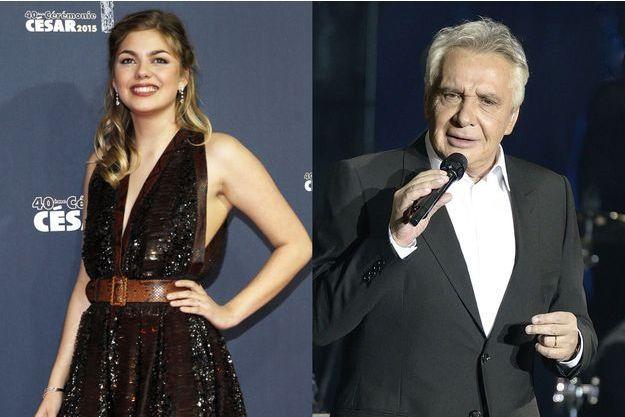Louane Emera aux César 2015 et Michel Sardou en concert à Paris en décembre 2012.