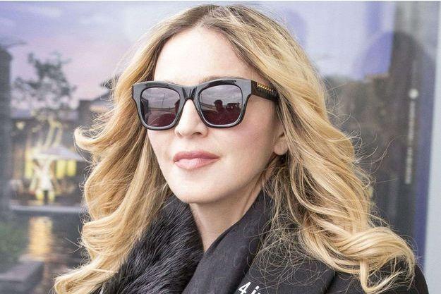 Madonna à son arrivée à Londres le 7 avril 2016.