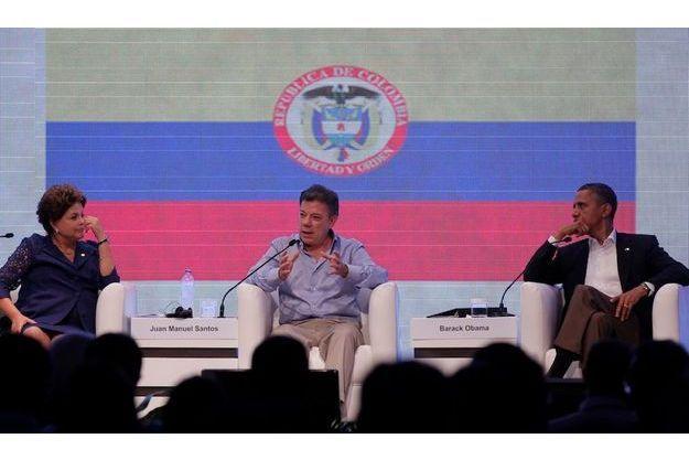 Barack Obama et ses homologues brésilien et colombien, Dilma Rousseff et Juan Manuel Santos.