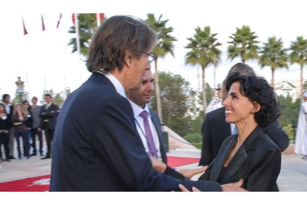 Dominique Desseigne et Rachida Dati à Marrakech, le 23 octobre 2007.