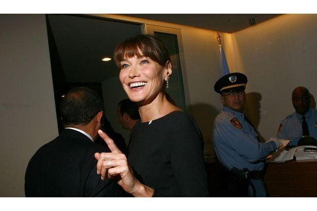 Carla Bruni-Sarkozy au siège des Nations unies, lundi 20 septembre.