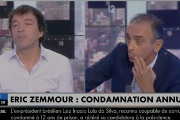 """Cali et Eric Zemmour sur le plateau de """"L'heure des pros"""" jeudi."""