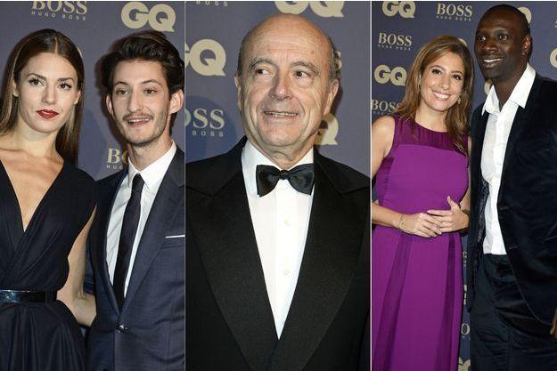 """Pierre Niney, Alain Juppé, Léa Salamé et Omar Sy à la soirée des Hommes de l'année du magazine """"GQ""""."""