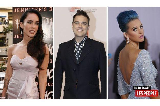 Megan Fox, Robbie Williams et Katy Perry.