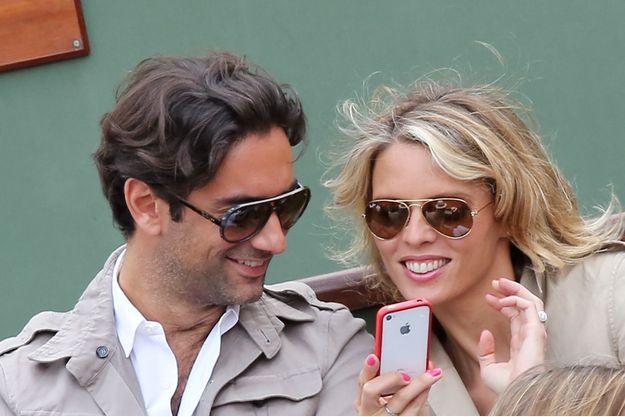 Sylvie Tellier et son mari Laurent à Roland Garros, le 2 juin 2013