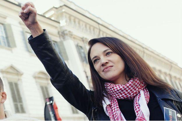 Asia Argento lors de la deuxième marche annuelle des femmes à Rome, le 20 janvier dernier.